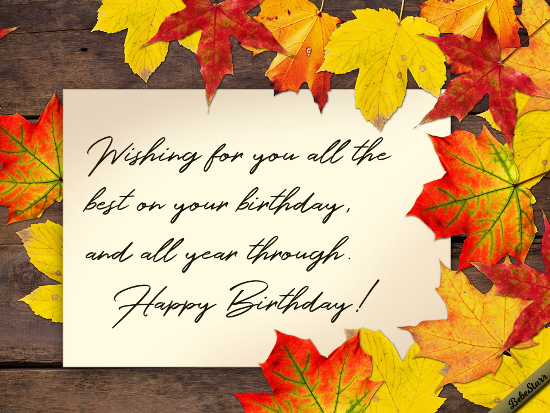 Autumn Birthday Wishes.