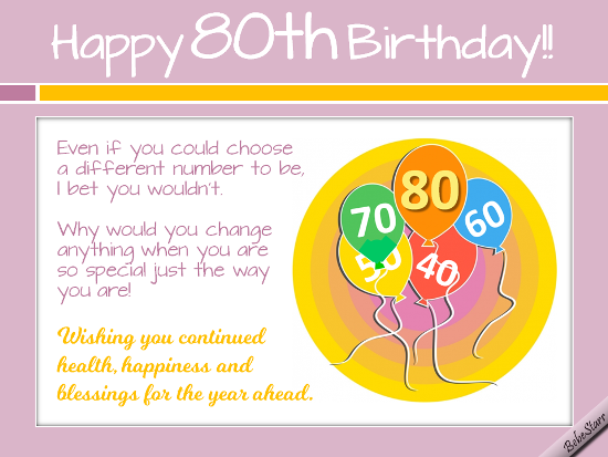 Birthday Wishes For The Special 80 Year Old