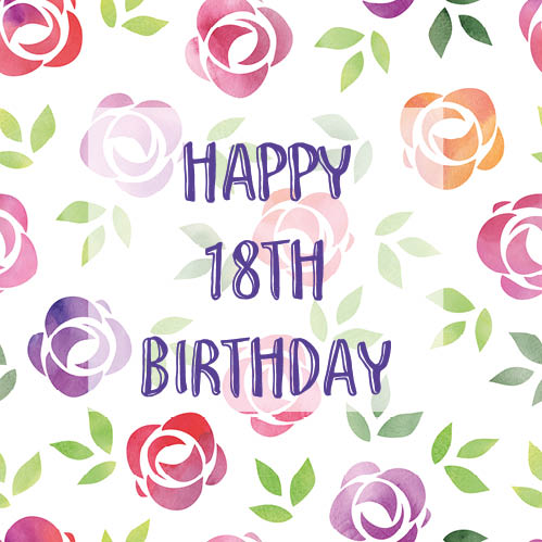 Colorful Floral 18th Birthday Card.