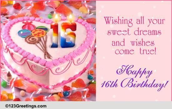 Sweet 16th Birthday Free Milestones eCards Greeting Cards – Sweet 16 Birthday Cards