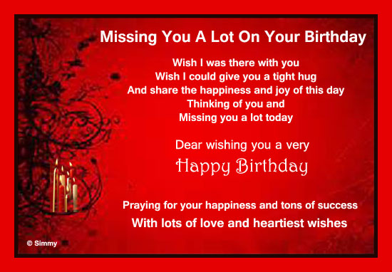 Birthday Quotes For A Friend Miles Away : Missing you a lot on your birthday free miss ecards