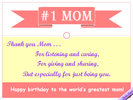 Happy Birthday To The No.1 Mom.