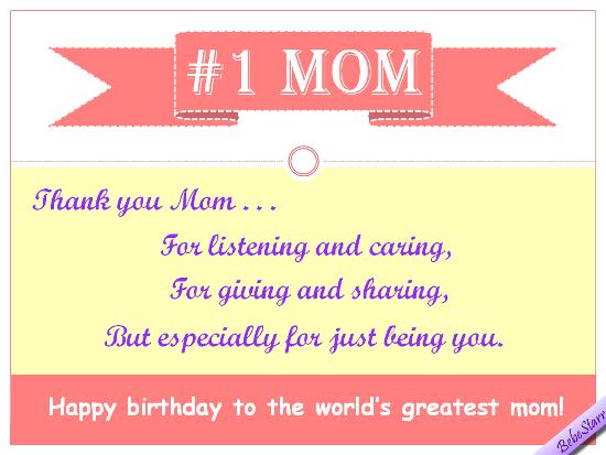 Happy Birthday To The No.1 Mom.