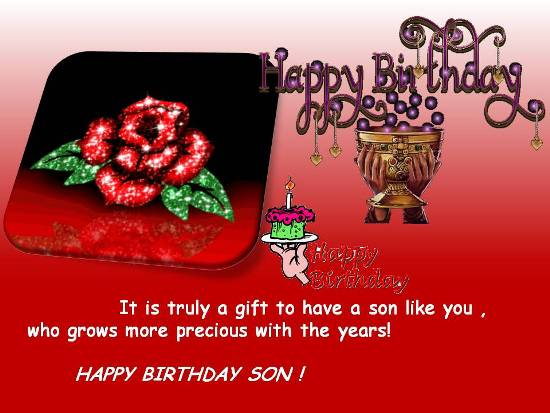 Birthday Greetings For Dear Son.