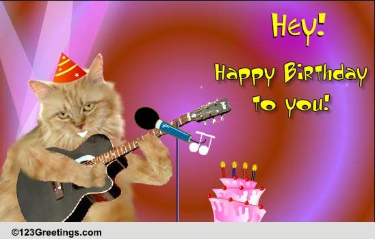 singing birthday cat free songs ecards, greeting cards, Birthday card