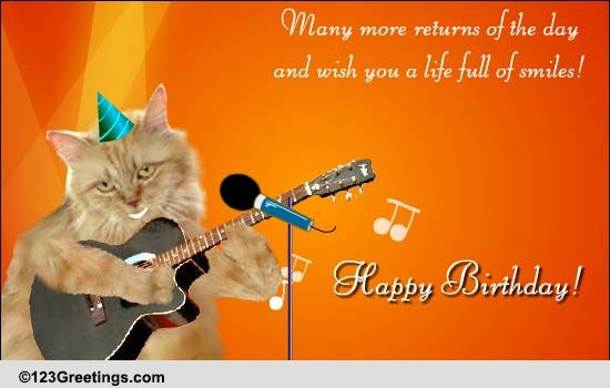 Cat Strums A Guitar Free Songs eCards Greeting Cards – Happy Birthday Card with Song