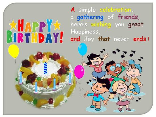 Merry Birthday Greetings For A Kid Free Wishes eCards Greeting – Birthdays Greetings
