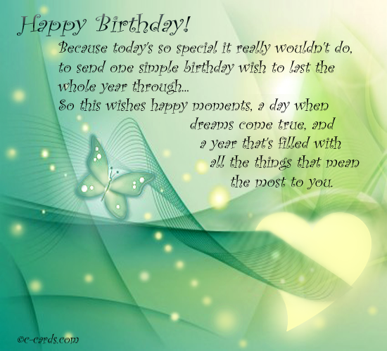 Free Birthday Wishes ECards Greeting Cards