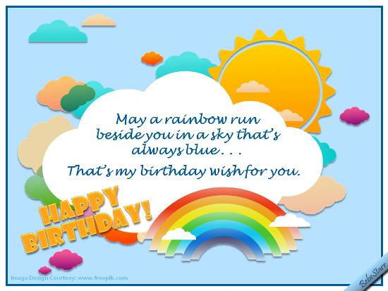 Rainbows And Blue Skies Free Birthday Wishes Ecards