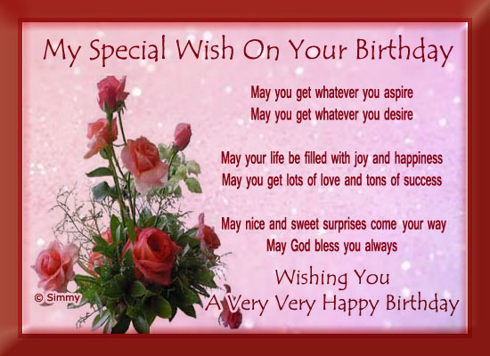 My Special Birthday Wish Free Birthday Wishes eCards Greeting – Special Birthday Greeting