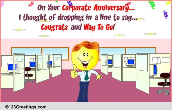 Special corporate anniversary wish free at work etc ecards 123