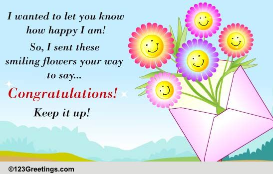 smiling flowers to say congrats free for everyone ecards, Greeting card