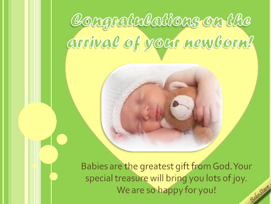Congratulating The Arrival Of Newborn.