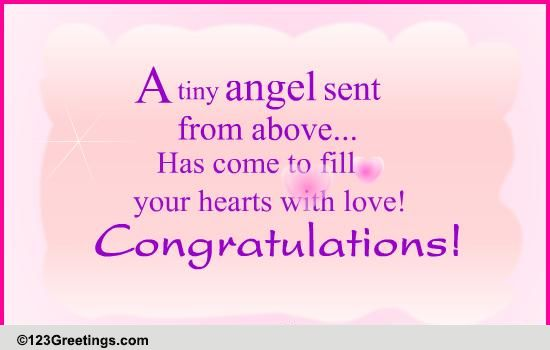 an angel has come  free new baby ecards  greeting cards