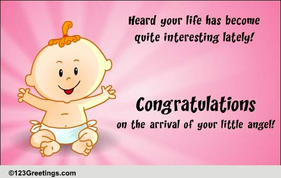 congrats on your little angel  free new baby ecards  greeting cards
