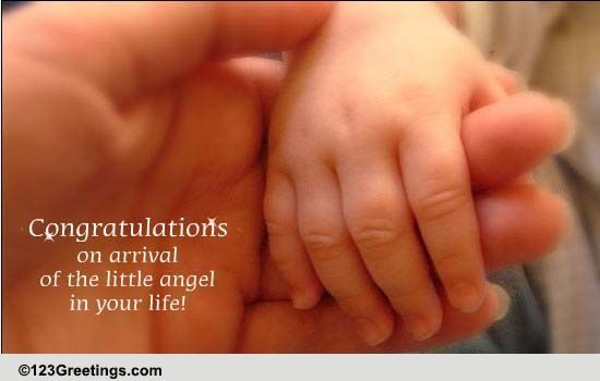 on arrival of your angel    free new baby ecards  greeting