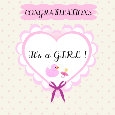 It's A Girl! Pink Heart Ecard.