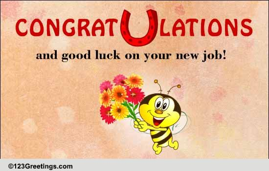congrats and good luck  free new job ecards  greeting