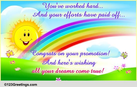 Your Efforts Have Paid Off Free Promotion eCards Greeting Cards