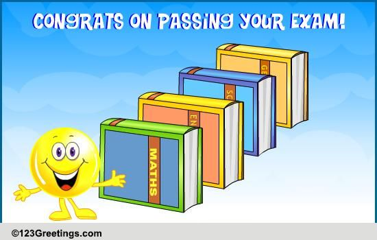 on passing an exam  free graduation party ecards  greeting