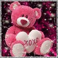 Pink Teddy Sending Hugs & Kisses.