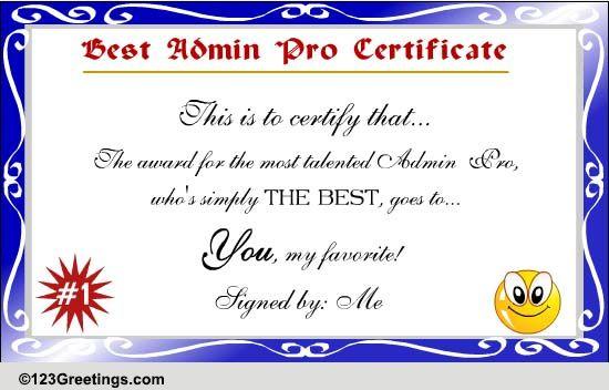 best admin pro certificate  free appreciation ecards  greeting cards