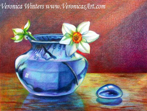 Original drawing of flowers in colored pencil. Buy catalog life in colored
