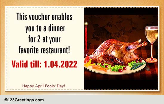 a dinner coupon for 2  free pranks ecards  greeting cards
