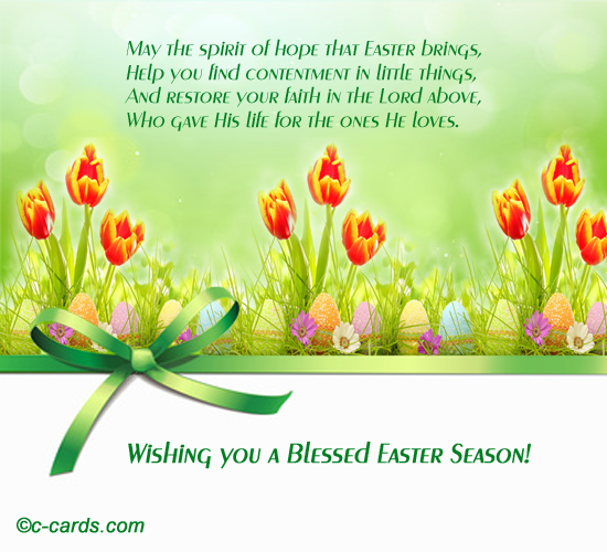 Contentment And Faith Free Happy Easter eCards Greeting Cards – Easter Messages for Cards