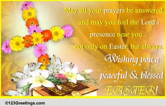 On Easter May Your Prayer Be Answered Free Religious eCards – Easter Greeting Card Messages