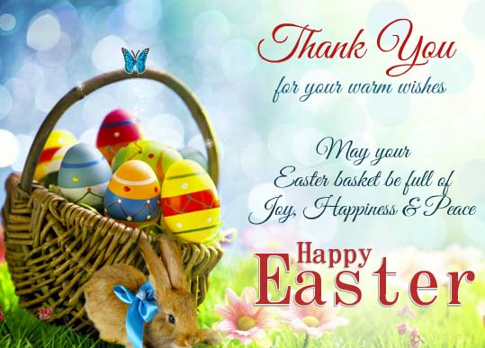 Thank You For Your Easter Wishes Free Thank You eCards Greeting – Easter Greeting Card Sayings