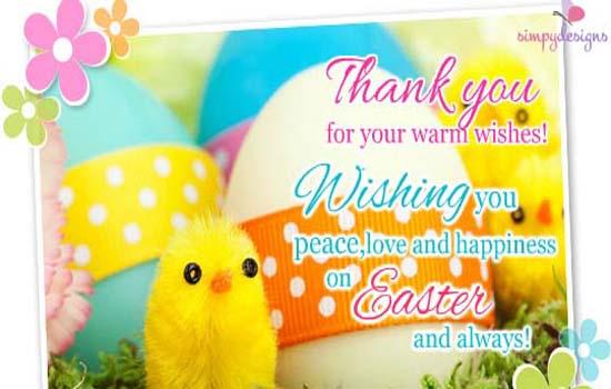 thanks for your warm easter wishes  free thank you ecards