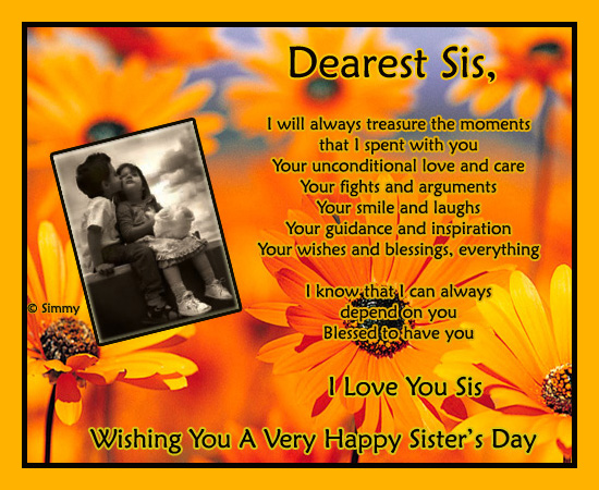 For My Sister With Love Free Sisters Day ECards Greeting Cards