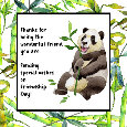 Thanks Friend With Panda Bear.