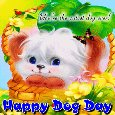 A Cute And Happy Dog Day Card.
