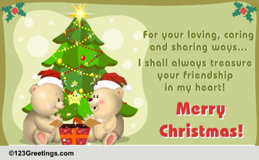 For A Treasured Friend On Christmas Free Friends ECards