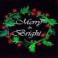 Merry And Bright Black Floral Card.