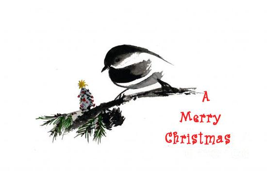 A Chickadee Tree Free Merry Christmas Wishes Ecards Greeting