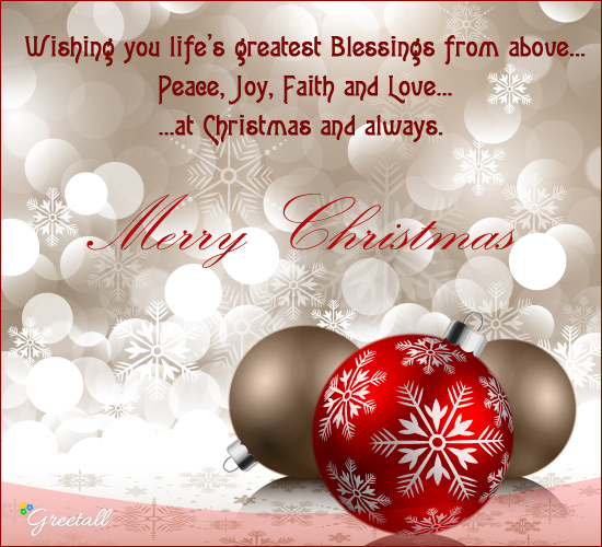 peace joy faith and love free merry christmas wishes