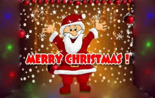 merry christmas  dancing santa ecard  free merry christmas