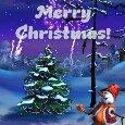 Merry Christmas Snowman & Fireworks.