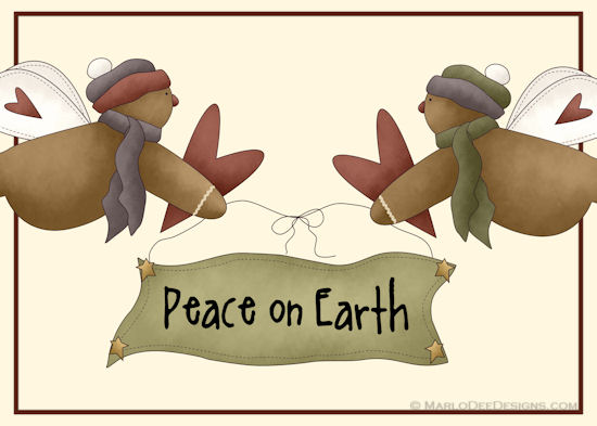 Ginger Angels Peace On Earth Card.