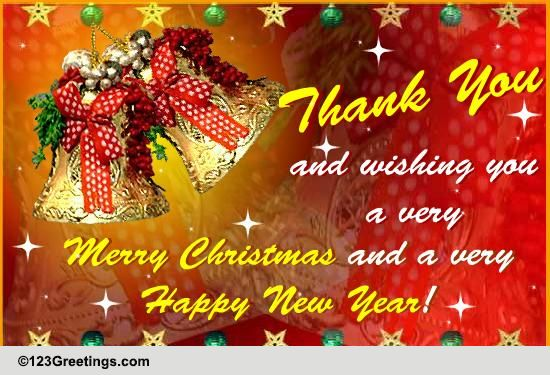 merry christmas n happy new year free thank you ecards 123
