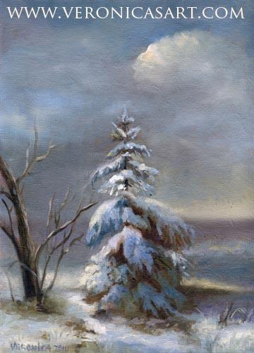 Winter Christmas Tree In Snow.