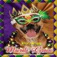 Doggy Celebrating Mardi Gras.
