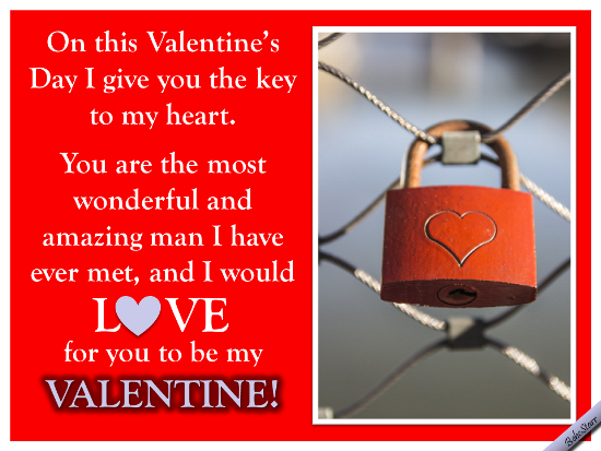 Key To My Heart. Free Be My Valentine ECards, Greeting