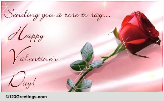 An Elegant Rose On Valentines Day Free Roses eCards Greeting – Valentines Day Online Card