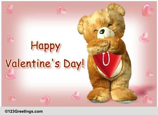 Valentine Teddy Hugs Free Happy Valentines Day eCards Greeting – Send a Valentines Card