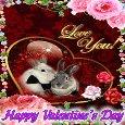 Cute Bunnies On Valentine's Day.
