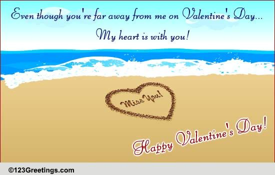Across The Miles On Valentines Day Free Miss You ECards